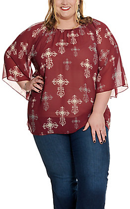 Cowgirl Hardware Women's Maroon Chiffon with Cross Print Long Angel Sleeve Fashion Top - Plus Size