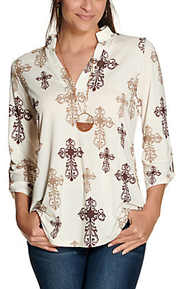 Cowgirl Hardware Women's Cream with Brown and Tan Steel Cross Print 3/4 Sleeve Fashion Top