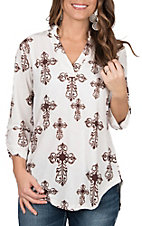 Cowgirl Hardware Women's White with Brown Fashion Cross Print 3/4 Tab Sleeve Fashion Top