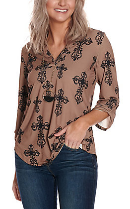 Cowgirl Hardware Women's Mocha Tan with Black Steel Cross Print 3/4 Sleeve Fashion Top