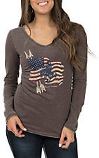 Cowgirl Hardware Women's Bronc Flag Long Sleeve Casual Knit Top