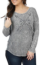 Cowgirl Hardware Women's Charcoal Crossed Arrows Long Sleeve T-Shirt