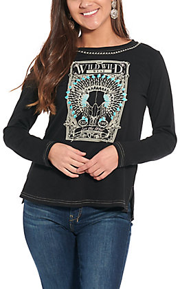 Cowgirl Hardware Black Wild West Graphic Long Sleeve Top