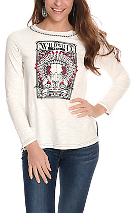 Cowgirl Hardware Women's White Long Sleeve Graphic Tee