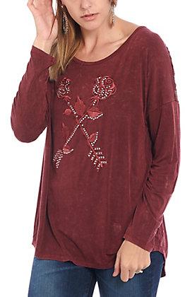 Cowgirl Hardware Women's Burgundy Rose Arrow Long Sleeve Raglan Top