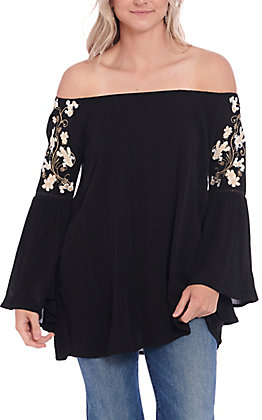 Cowgirl Hardware Women's Black Floral Embroidered Off the Shoulder Fashion Top