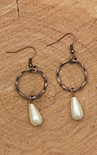 Jewelry Junkie Bronze with Circle and Tear Drop Pearl Dangle Earrings
