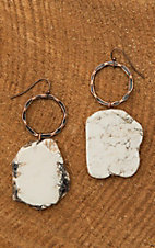 Jewelry Junkie White Large Stone and Bronze Circle Dangle Earrings