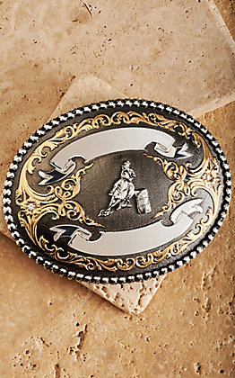 Montana Silversmith Powder River Gunmetal, Silver and Gold Barrel Racer Trophy Buckle