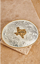 Montana Silversmiths Two-toned Rope Edge Texas State Buckle