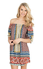 Renee C. Women's Red, Blue, and Yellow Multi Print 1/2 Sleeve Dress