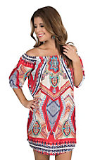 Renee C. Women's Red, Navy, and Cream Multi Print 1/2 Sleeve Dress