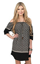Renee C. Women's Black and White Print 1/2 Sleeve Dress