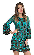 Lore Mae Women's Turquoise and Brown Print Long Bell Sleeve Dress