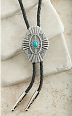 M&F Western Antique Silver & Turquoise Southwest Bolo Tie