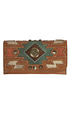American West Zuni Passage Collection Golden Tan Trifold Wallet