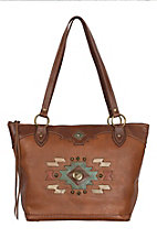 American West Zuni Passage Collection Golden Tan Zip Top Bucket Tote