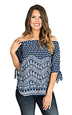 Renee C. Women's Blue and Cream Print Off-The-Shoulder Fashion Top