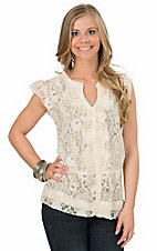 Magnolia Lane Women's Ivory Lace Button Front Cap Sleeve Top