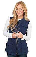 Per Se Women's Navy Military Twill Vest