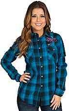 Cowgirl Hardware Women's Blue Plaid with Blooming Horseshoe Embroidery Long Sleeve Western Shirt