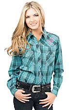 Cowgirl Hardware Women's Turquoise & Black with Horseshoe Embroidery Long Sleeve Western Shirt