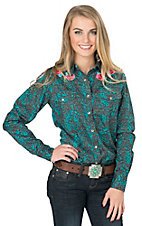 Cowgirl Hardware Women's Turquoise & Brown Floral Print with Rose Embroidery Long Sleeve Western Shirt