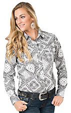Cowgirl Hardware Women's Black & White Bandana Print Long Sleeve Western Shirt