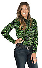 Cowgirl Hardware Women's Lime & Black Zebra with Western Print Long Sleeve Western Shirt