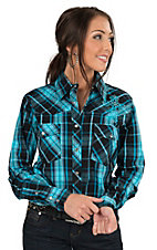 Cowgirl Hardware Women's Turquoise & Black Plaid with Cross Embroidery Long Sleeve Western Shirt
