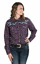Cowgirl Hardware Women's Purple and Black Paisley Print with Turquoise Embroidery Long Sleeve Western Snap Shirt