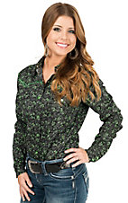 Cowgirl Hardware Women's Green & Grey Paisley Print Long Sleeve Western Shirt
