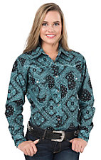 Cowgirl Hardware Women's Black & Turquoise Bandana Print with Rhinestones Long Sleeve Western Shirt