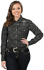 Cowgirl Hardware Women's Black with White Floral Print & Rhinestone Cross Long Sleeve Western Shirt