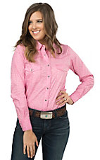 Cowgirl Hardware Women's Pink with White Floral Print & Rhinestones Long Sleeve Western Shirt