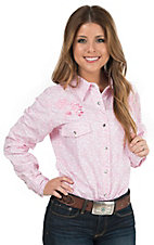 Cowgirl Hardware Women's Pink Flower Field Print Long Sleeve Western Shirt