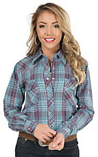 Cowgirl Hardware Women's Plum & Turquoise Plaid with Rhinestones Long Sleeve Western Shirt