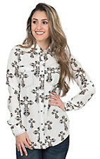 Cowgirl Hardware Women's White with Chocolate & Cream Cross Print Long Sleeve Western Shirt
