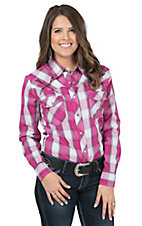 Cowgirl Hardware Women's Pink Plaid with Arrow Embroidery Long Sleeve Western Shirt