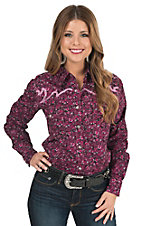 Cowgirl Hardware Women's Hot Pink & Black Paisley Print Long Sleeve Western Shirt