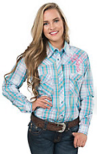 Cowgirl Hardware Women's Turquoise Multicolor Plaid with Pink Winged Cross Long Sleeve Western Shirt