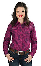 Cowgirl Hardware Women's Pink and Plum Bandana Print with Pink Embroidery and Rhinestones Long Sleeve Western Snap Shirt