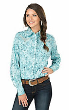 Cowgirl Hardware Women's Turquoise Marble Print with Turquoise Embroidered Cross on Back Long Sleee Western Snap Shirt