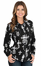 Cowgirl Hardware Women's Black and White Cross Print Long Sleeve Western Snap Shirt
