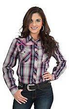 Cowgirl Hardware Women's Pink, Purple, Black, and Grey with Pink Embroidery Long Sleeve Western Shirt