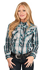 Cowgirl Hardware Women's Blue, Black, and Grey with Blue Embroidery Long Sleeve Western Shirt
