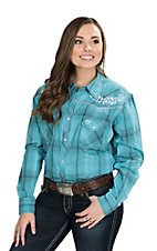 Wired Heart Women's Turquoise Plaid with Turquoise Floral Embroidery Long Sleeve Western Shirt