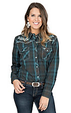 Cowgirl Hardware Women's Chocolate and Teal Plaid with Teal Embroidery Long Sleeve Western Snap Shirt