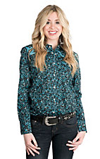 Cowgirl Hardware Women's Black and Turquoise Pailsley Print with Embroidery Long Sleeve Western Snap Shirt