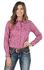 Cowgirl Hardware Women's Pink and Brown Paisley Print Long Sleeve Western Shirt